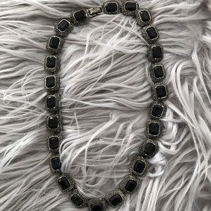 Vintage Silver + Black Onyx w/ Marcasite Necklace